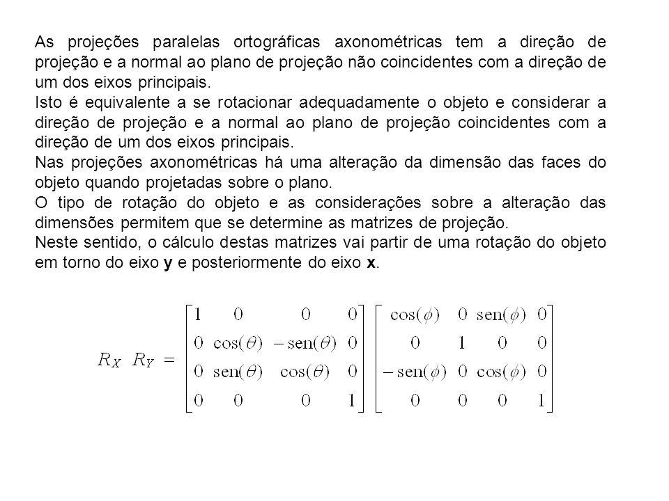 As projeções paralelas ortográficas axonométricas tem a direção de projeção e a normal ao plano de projeção não coincidentes com a direção de um dos e