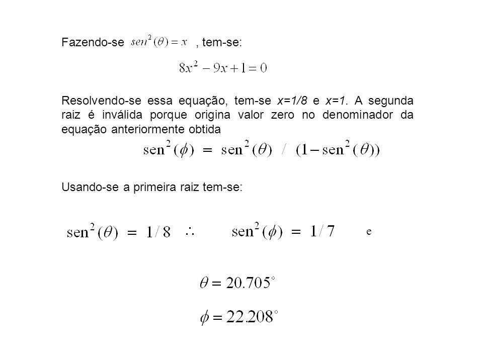 Fazendo-se, tem-se: Resolvendo-se essa equação, tem-se x=1/8 e x=1. A segunda raiz é inválida porque origina valor zero no denominador da equação ante