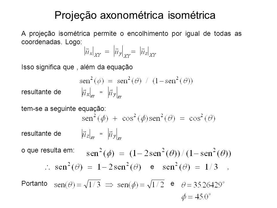 A projeção isométrica permite o encolhimento por igual de todas as coordenadas. Logo: Isso significa que, além da equação resultante de tem-se a segui