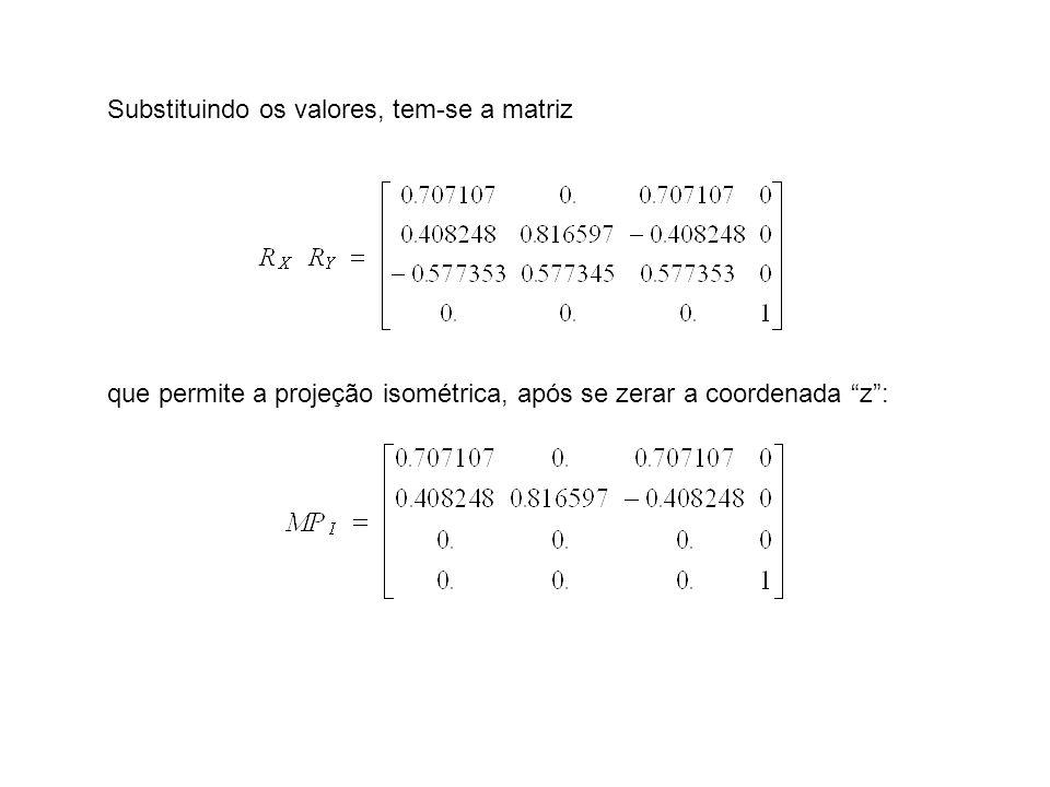 Substituindo os valores, tem-se a matriz que permite a projeção isométrica, após se zerar a coordenada z: