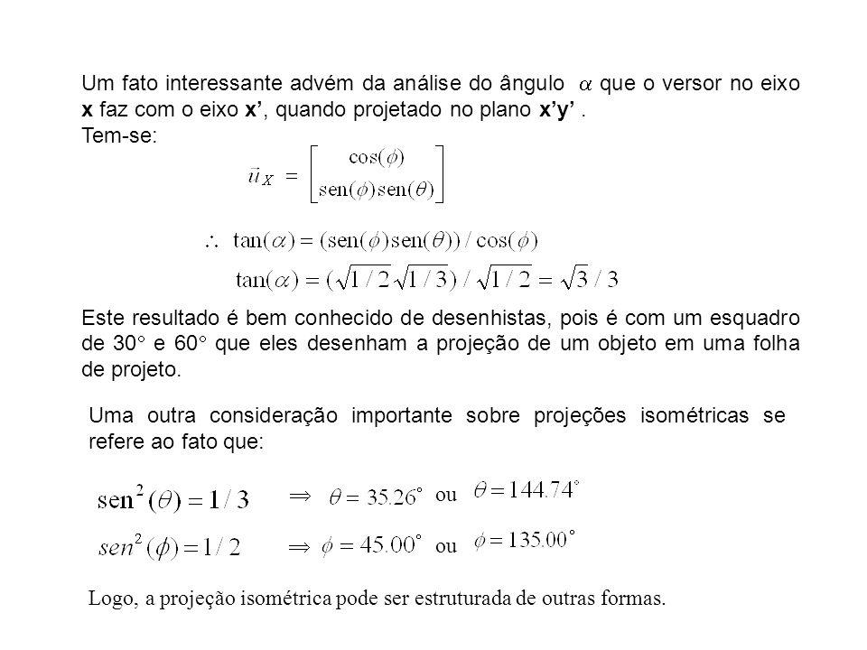 Um fato interessante advém da análise do ângulo que o versor no eixo x faz com o eixo x, quando projetado no plano xy. Tem-se: Este resultado é bem co