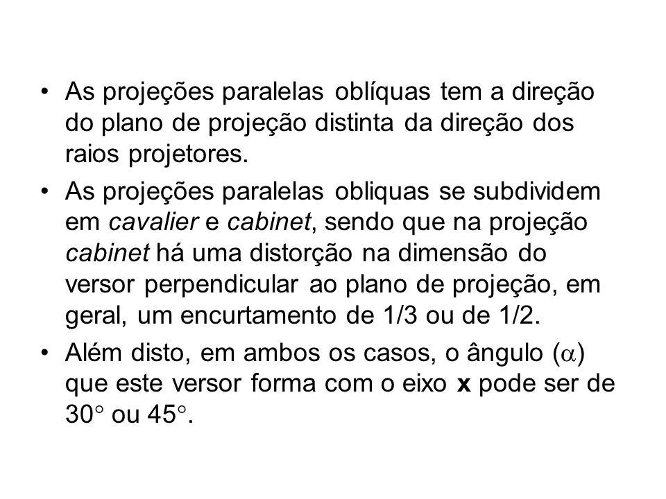 As projeções paralelas oblíquas tem a direção do plano de projeção distinta da direção dos raios projetores. As projeções paralelas obliquas se subdiv