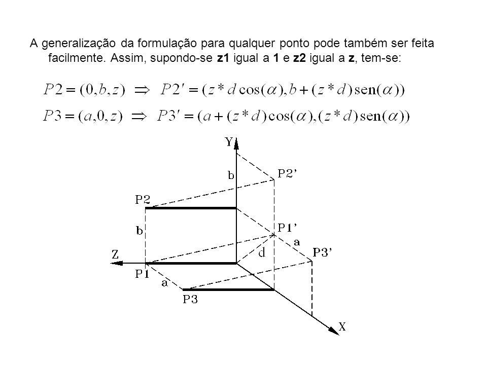 A generalização da formulação para qualquer ponto pode também ser feita facilmente. Assim, supondo-se z1 igual a 1 e z2 igual a z, tem-se: