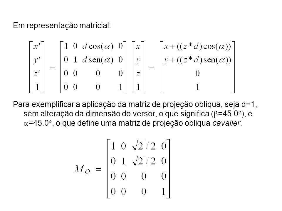 Em representação matricial: Para exemplificar a aplicação da matriz de projeção oblíqua, seja d=1, sem alteração da dimensão do versor, o que significa ( =45.0 ), e =45.0, o que define uma matriz de projeção obliqua cavalier.