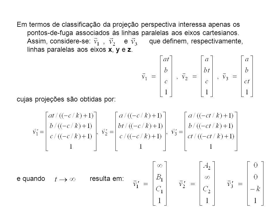 Em termos de classificação da projeção perspectiva interessa apenas os pontos-de-fuga associados às linhas paralelas aos eixos cartesianos. Assim, con