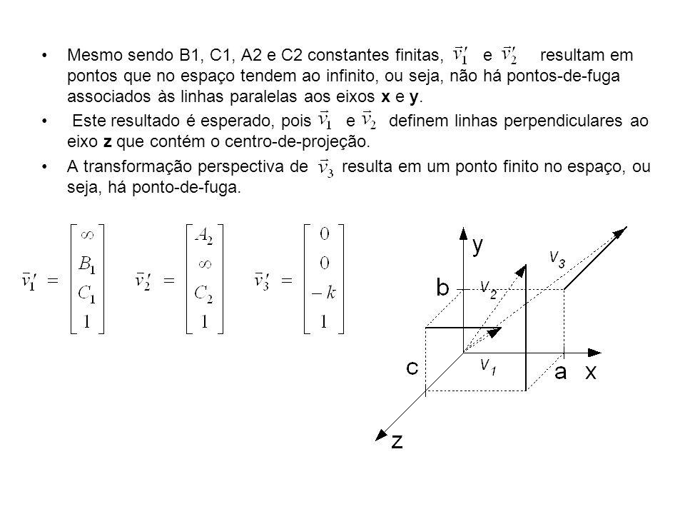 Mesmo sendo B1, C1, A2 e C2 constantes finitas, e resultam em pontos que no espaço tendem ao infinito, ou seja, não há pontos-de-fuga associados às li