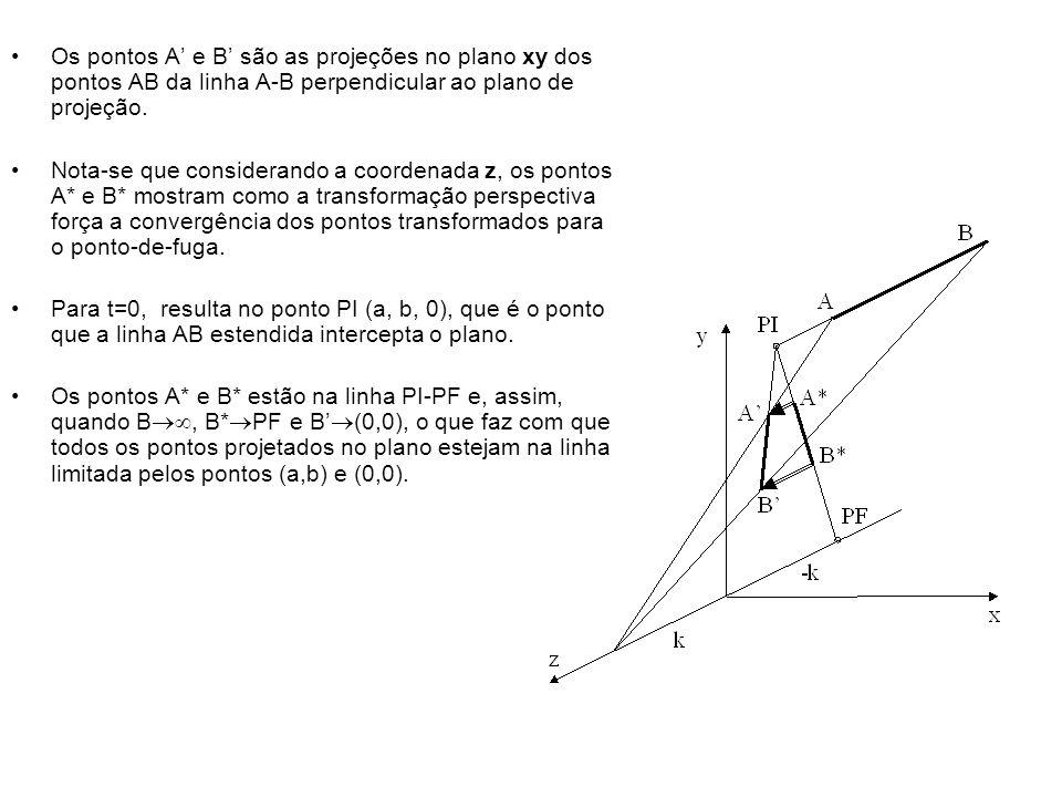 Os pontos A e B são as projeções no plano xy dos pontos AB da linha A-B perpendicular ao plano de projeção.