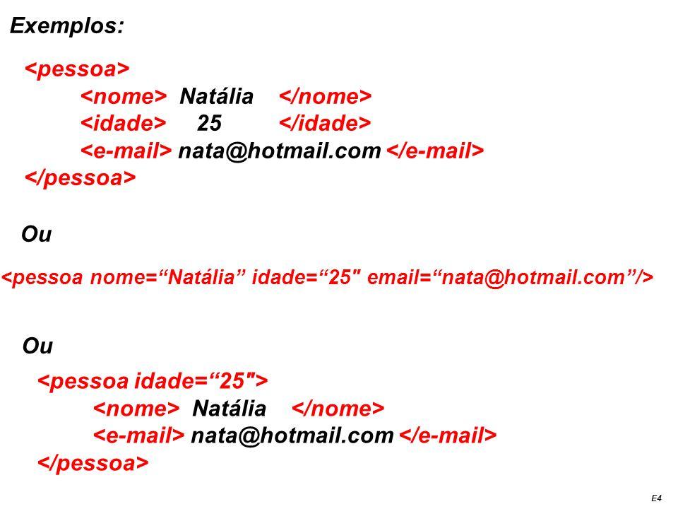 Exemplos: Natália 25 nata@hotmail.com Ou Natália nata@hotmail.com Ou E4