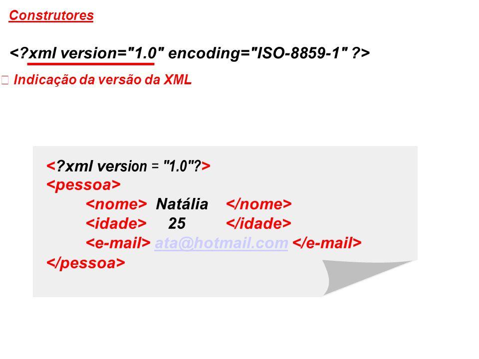 Indicação da versão da XML Natália 25 ata@hotmail.com Construtores