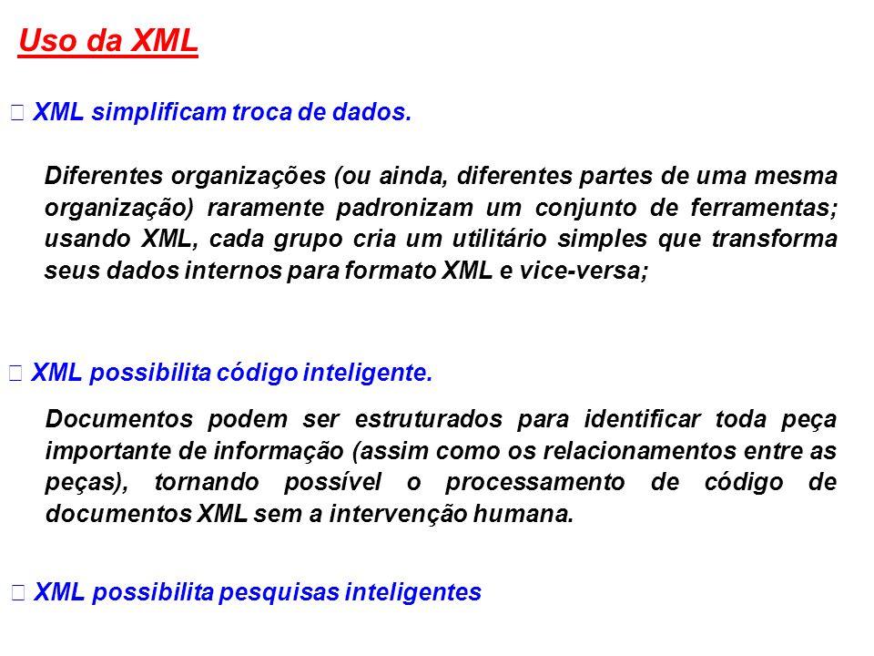 XML simplificam troca de dados. Diferentes organizações (ou ainda, diferentes partes de uma mesma organização) raramente padronizam um conjunto de fer
