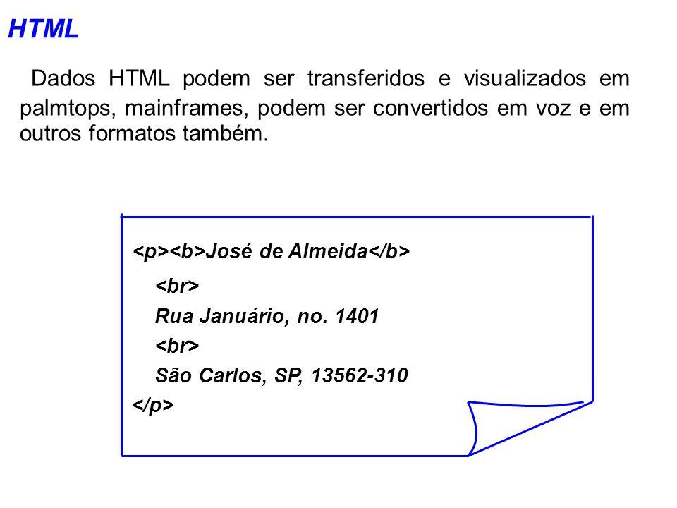 HTML Dados HTML podem ser transferidos e visualizados em palmtops, mainframes, podem ser convertidos em voz e em outros formatos também. José de Almei