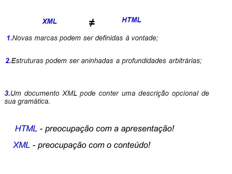 XML HTML 1.Novas marcas podem ser definidas à vontade; 2.Estruturas podem ser aninhadas a profundidades arbitrárias; 3.Um documento XML pode conter um