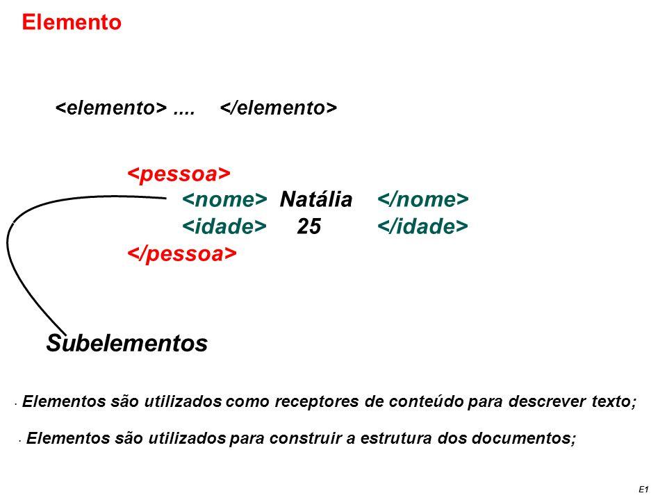 Natália 25 Elemento.... Subelementos E1 Elementos são utilizados como receptores de conteúdo para descrever texto; Elementos são utilizados para const