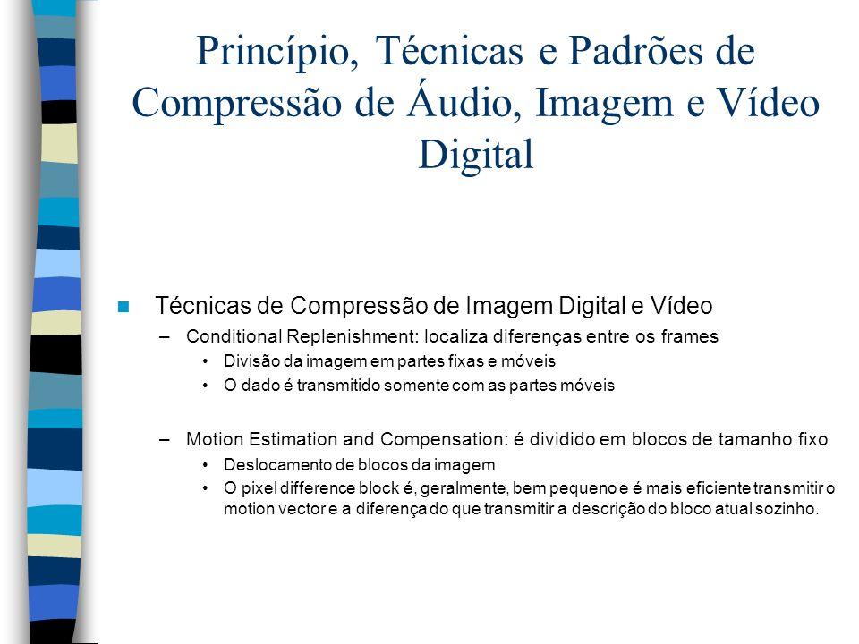 Princípio, Técnicas e Padrões de Compressão de Áudio, Imagem e Vídeo Digital Técnicas de Compressão de Imagem Digital e Vídeo –Conditional Replenishme