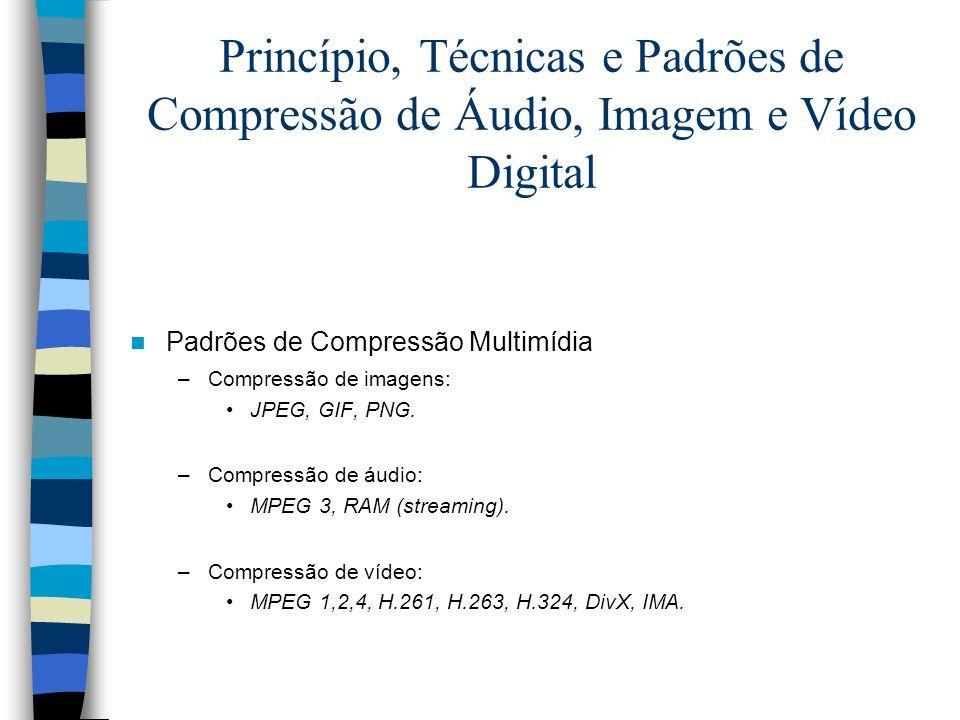Princípio, Técnicas e Padrões de Compressão de Áudio, Imagem e Vídeo Digital Padrões de Compressão Multimídia –Compressão de imagens: JPEG, GIF, PNG.