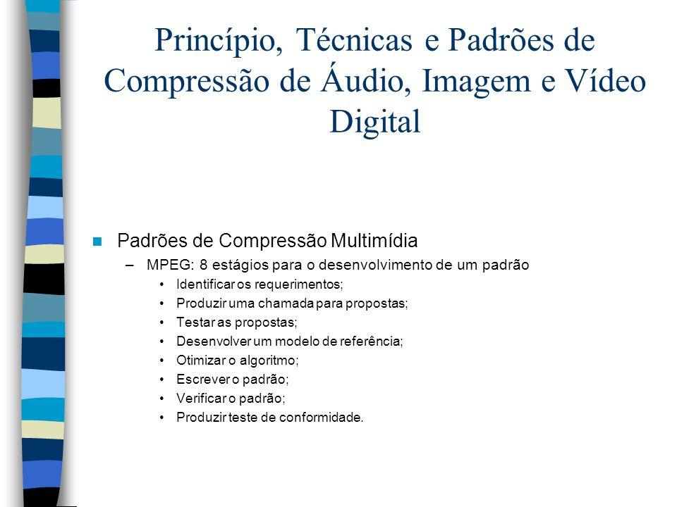 Princípio, Técnicas e Padrões de Compressão de Áudio, Imagem e Vídeo Digital Padrões de Compressão Multimídia –MPEG: 8 estágios para o desenvolvimento