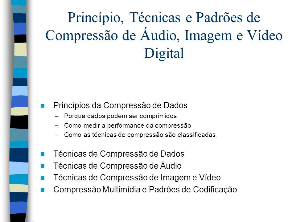 Princípio, Técnicas e Padrões de Compressão de Áudio, Imagem e Vídeo Digital Princípios da Compressão de Dados –Porque dados podem ser comprimidos –Co