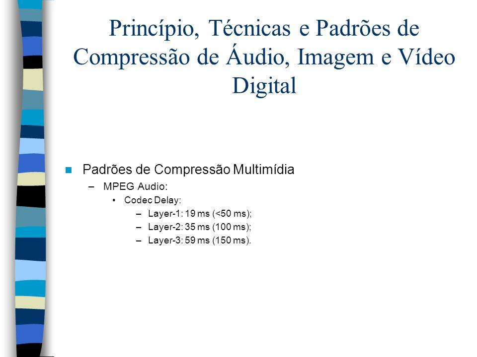 Princípio, Técnicas e Padrões de Compressão de Áudio, Imagem e Vídeo Digital Padrões de Compressão Multimídia –MPEG Audio: Codec Delay: –Layer-1: 19 m
