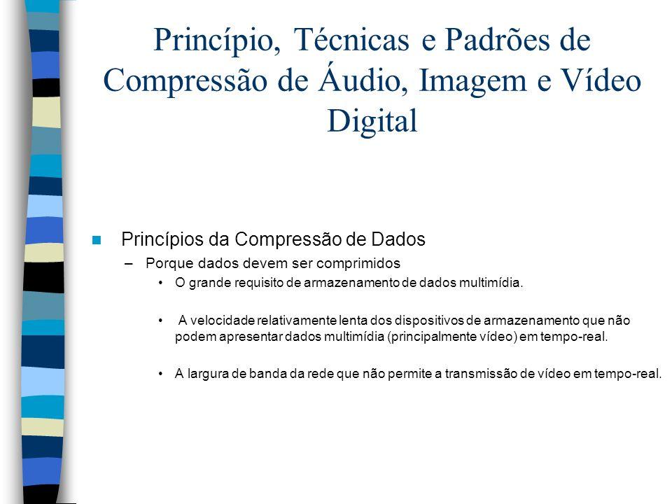 Princípio, Técnicas e Padrões de Compressão de Áudio, Imagem e Vídeo Digital Princípios da Compressão de Dados –Porque dados devem ser comprimidos O g