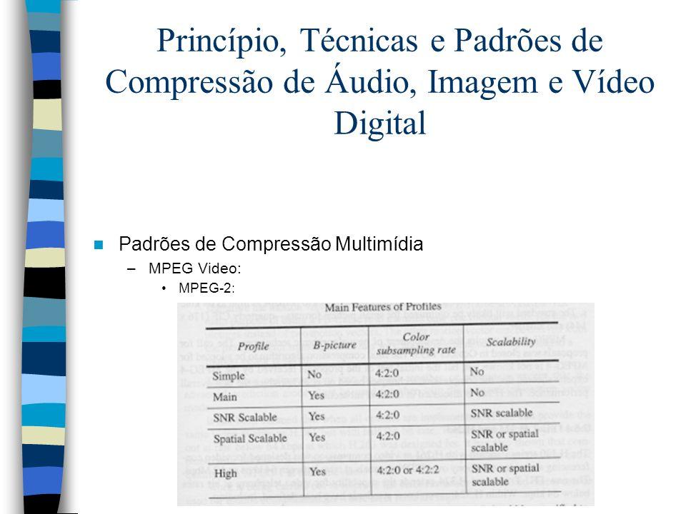 Princípio, Técnicas e Padrões de Compressão de Áudio, Imagem e Vídeo Digital Padrões de Compressão Multimídia –MPEG Video: MPEG-2: