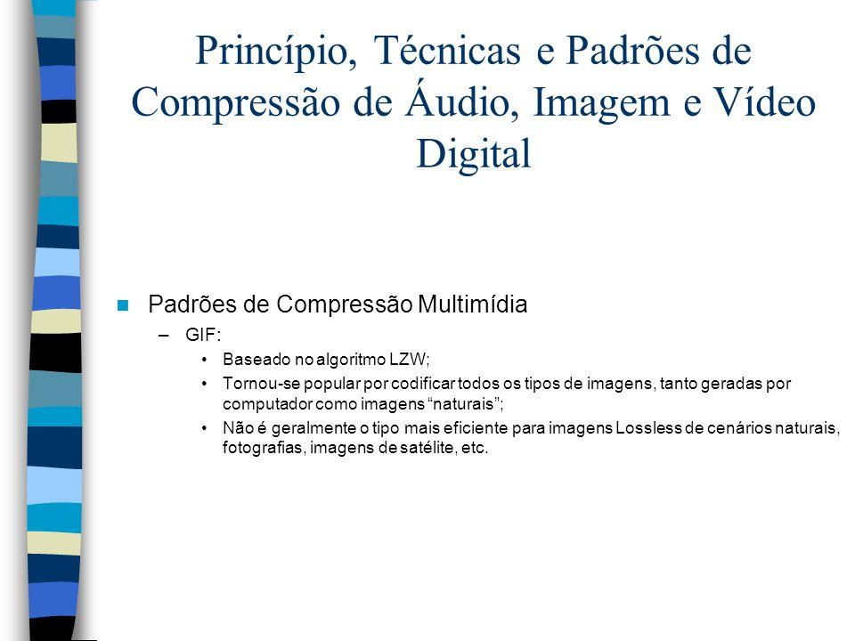 Princípio, Técnicas e Padrões de Compressão de Áudio, Imagem e Vídeo Digital Padrões de Compressão Multimídia –GIF: Baseado no algoritmo LZW; Tornou-s