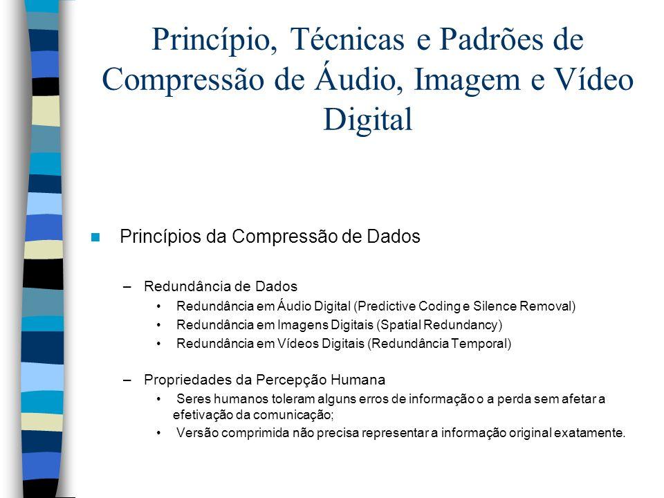 Princípio, Técnicas e Padrões de Compressão de Áudio, Imagem e Vídeo Digital Princípios da Compressão de Dados –Redundância de Dados Redundância em Áu