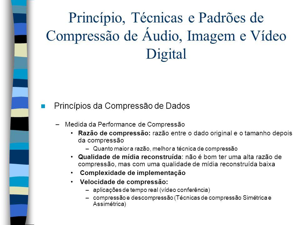 Princípio, Técnicas e Padrões de Compressão de Áudio, Imagem e Vídeo Digital Princípios da Compressão de Dados –Medida da Performance de Compressão Ra