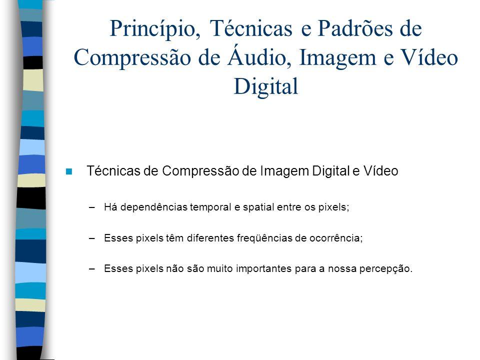 Princípio, Técnicas e Padrões de Compressão de Áudio, Imagem e Vídeo Digital Técnicas de Compressão de Imagem Digital e Vídeo –Há dependências tempora