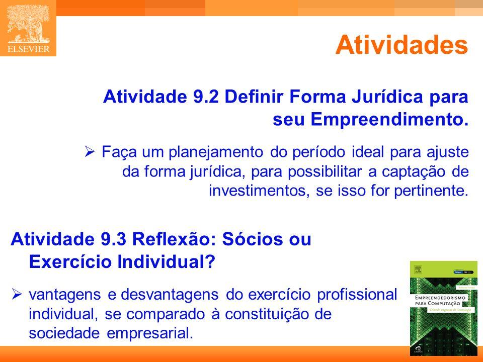 20 Capa Atividades Atividade 9.2 Definir Forma Jurídica para seu Empreendimento. Faça um planejamento do período ideal para ajuste da forma jurídica,