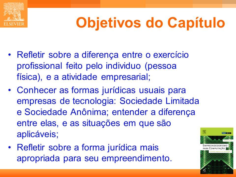 3 Capa Objetivos do Capítulo Refletir sobre a diferença entre o exercício profissional feito pelo individuo (pessoa física), e a atividade empresarial