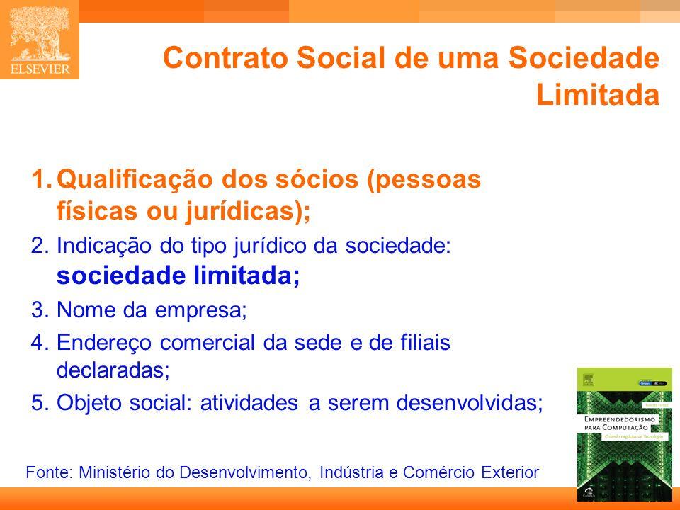 5 Capa Contrato Social de uma Sociedade Limitada 1.Qualificação dos sócios (pessoas físicas ou jurídicas); 2.Indicação do tipo jurídico da sociedade: