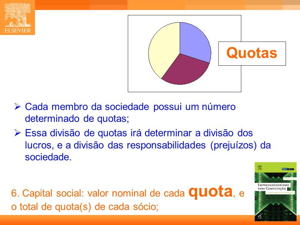 9 Capa 6. Capital social: valor nominal de cada quota, e o total de quota(s) de cada sócio; Cada membro da sociedade possui um número determinado de q