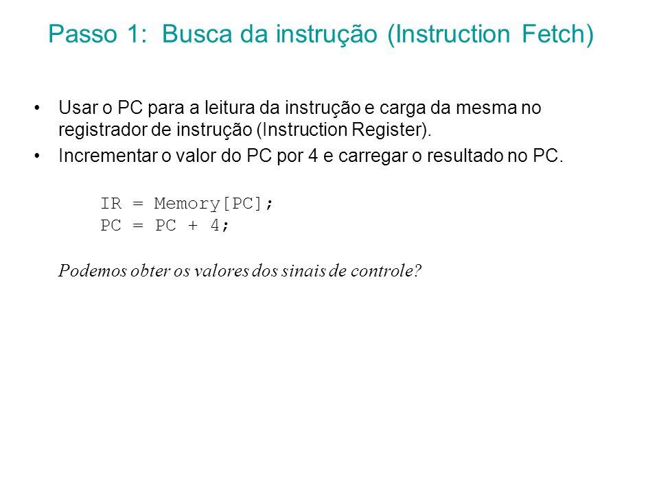 Usar o PC para a leitura da instrução e carga da mesma no registrador de instrução (Instruction Register). Incrementar o valor do PC por 4 e carregar