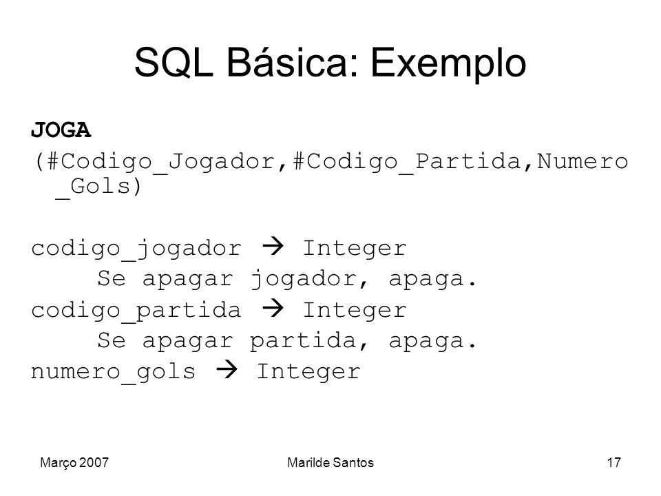 Março 2007Marilde Santos18 SQL Básica: Exemplo JOGA (#Codigo_Jogador,#Codigo_Partida,Numero_Gols) CREATE TABLE joga ( codigo_jogador integer, constraint joga1_fk foreign key (codigo_jogador) references jogador(codigo_jogador) on delete cascade, codigo_partida integer, constraint joga2_fk foreign key (codigo_partida) references partida(codigo_partida) on delete cascade, numero_gols integer );