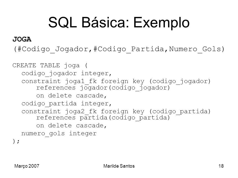 Março 2007Marilde Santos19 SQL Básica: Alteração de Tabelas ALTER TABLE [esquema.]tabela [add coluna tipo_dado [DEFAULT expr] [constraint_coluna] ] [modify coluna tipo_dado [DEFAULT expr] [constraint_coluna] ] [add constraint_coluna/constraint_tabela] [drop constraint_coluna/constraint_tabela [cascade]] [enable constraint_coluna/constraint_tabela] [disable constraint_coluna/constraint_tabela] ;