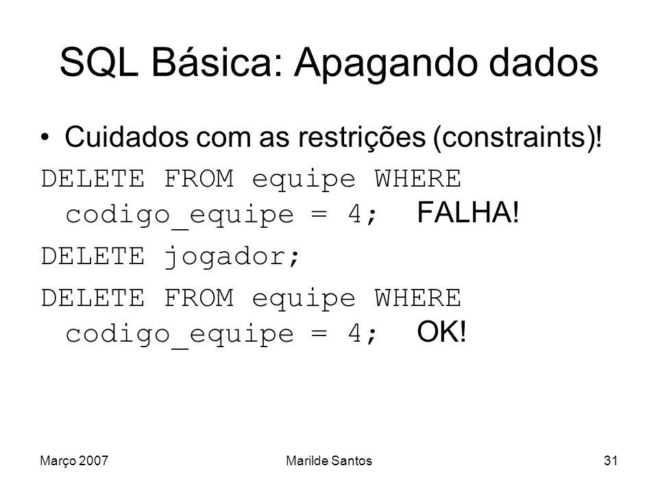 Março 2007Marilde Santos32 SQL Básica: Selecionando dados Forma básica: SELECT FROM WHERE