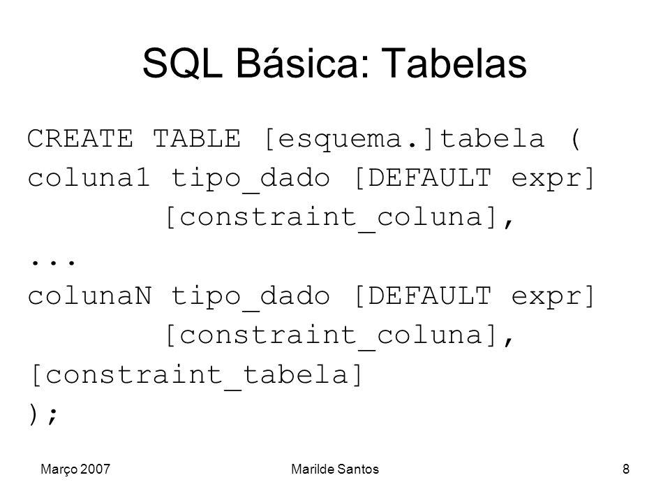 Março 2007Marilde Santos9 SQL Básica: Tipos de Dados Integer, Float, Real...