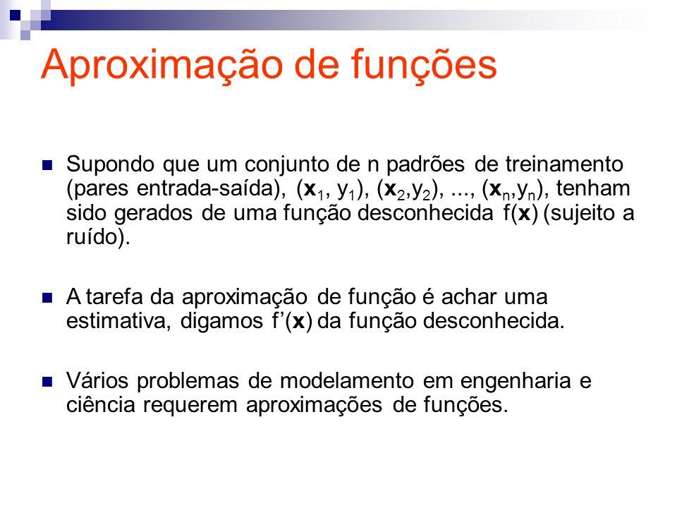 Aproximação de funções Supondo que um conjunto de n padrões de treinamento (pares entrada-saída), (x 1, y 1 ), (x 2,y 2 ),..., (x n,y n ), tenham sido
