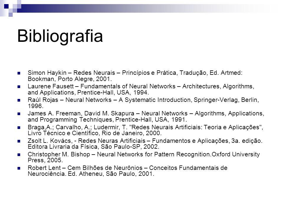Bibliografia Simon Haykin – Redes Neurais – Princípios e Prática, Tradução, Ed. Artmed: Bookman, Porto Alegre, 2001. Laurene Fausett – Fundamentals of