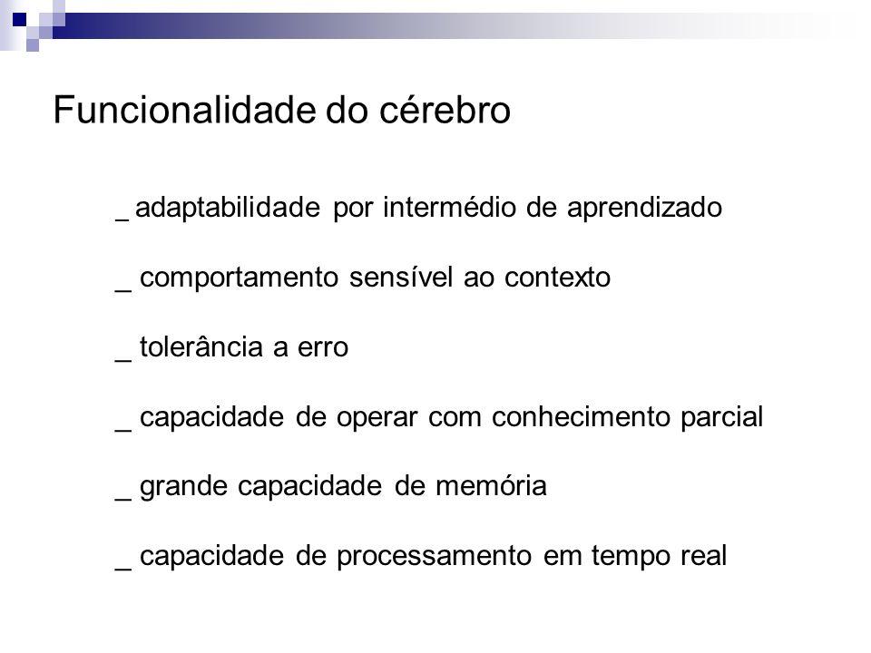 Funcionalidade do cérebro _ adaptabilidade por intermédio de aprendizado _ comportamento sensível ao contexto _ tolerância a erro _ capacidade de oper