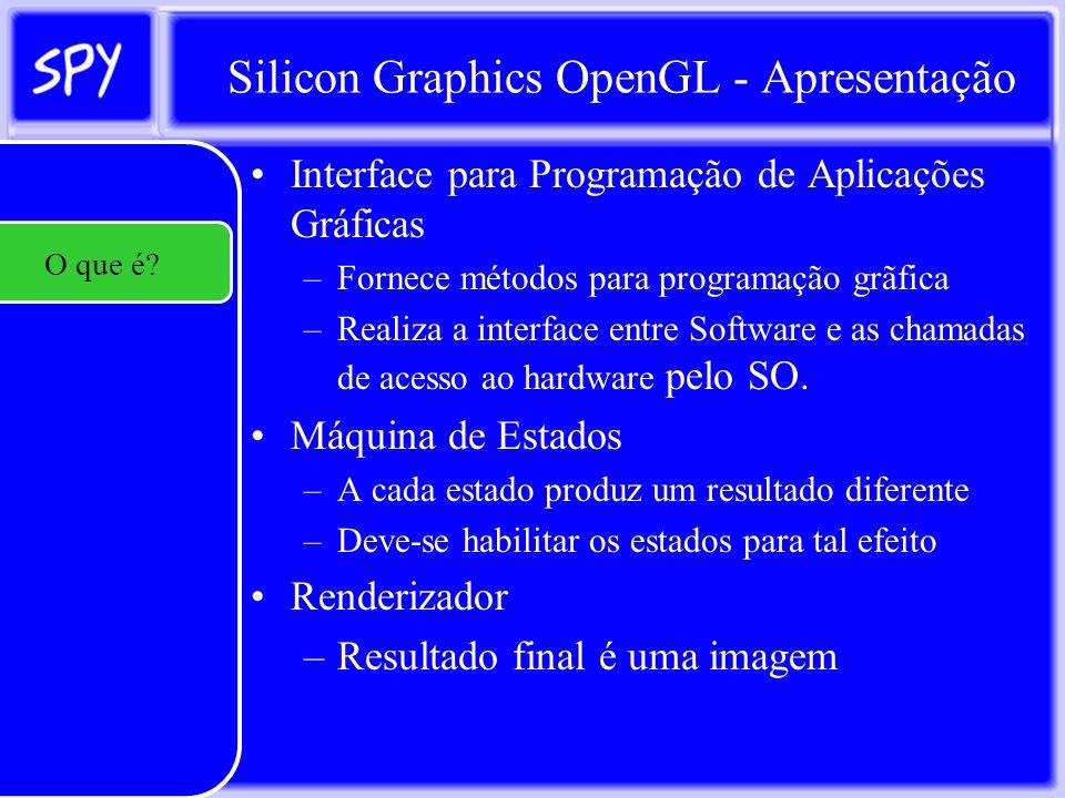 Silicon Graphics OpenGL - Apresentação Produzir Software que tenha algum conteúdo gráfico Bi ou Tridimensional –Software para produção de gráficos estatísticos Produzir Software visual de Simulação –Simuladores de Carro ou de Avião para teste de performance e qualidade Produzir Jogos e Animações –Mercado que vem crescendo desde o surgimento das áreas Outros O que é.
