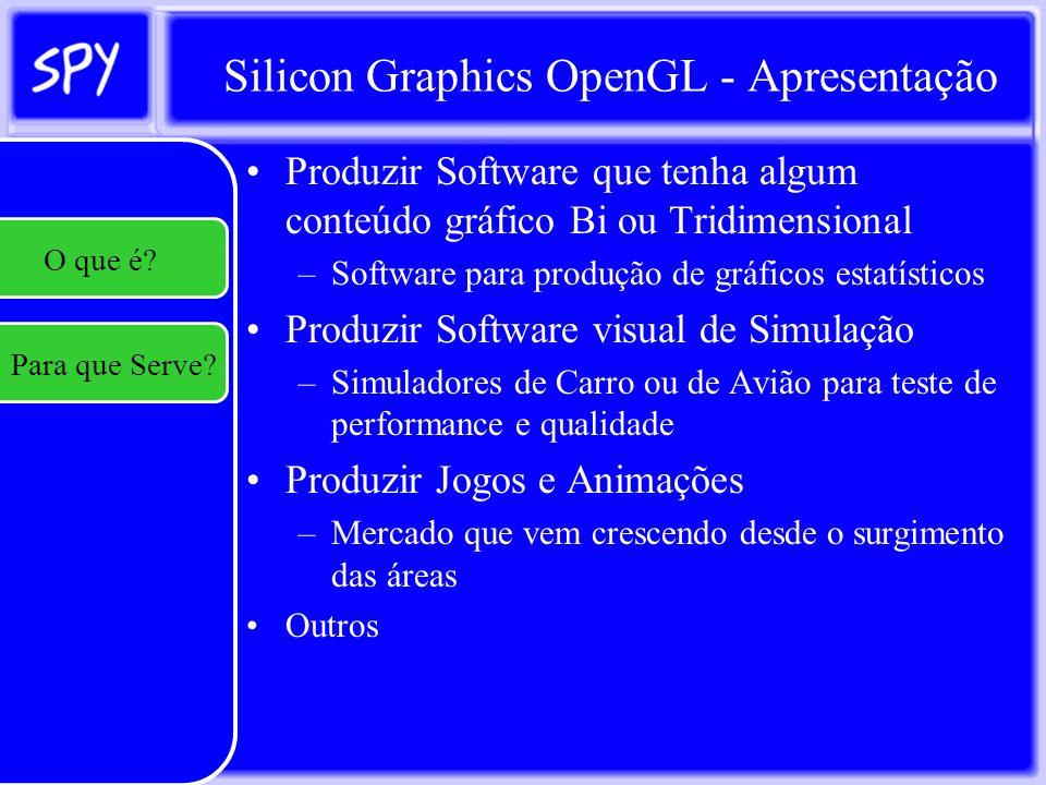Silicon Graphics OpenGL - Apresentação Em Windows a rotina principal chama-se WinMain que exige, como parâmetros: –HINSTANCE hInstance, // Instância –HINSTANCE hPrevInstance, // Instância prévia –LPSTR lpCmdLine,// Parâmetros de linha de comando –int nCmdShow // Estado de Exibição da janela Com exceção do parâmetro de linha de comando, os outros parâmetros são automaticamente preenchidos pelo Sistema Operacional.