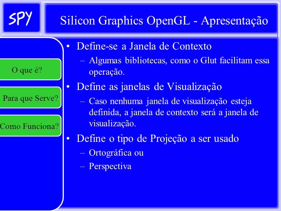 Silicon Graphics OpenGL - Apresentação A rotina principal tem as seguintes obrigações: –Definir o contexto de renderização; –Relizar o loop para: Recuperar as mensagens que o SO envia para a janela/aplicação e realizar os procedimentos necessários de acordo com a mensagem recebida.