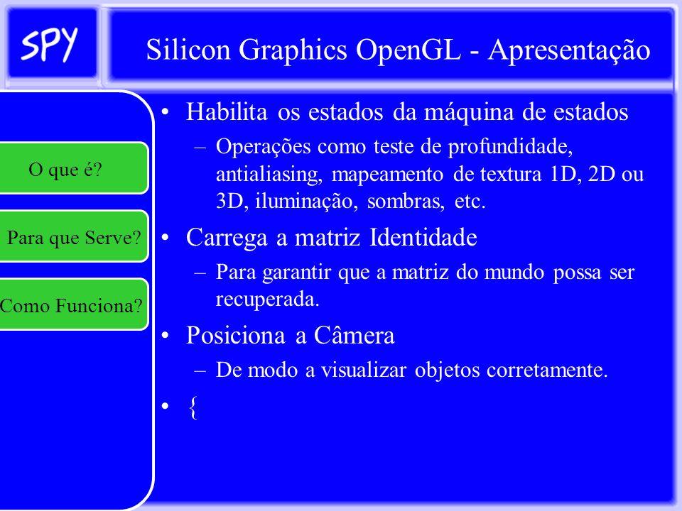 Silicon Graphics OpenGL - Apresentação Empilha a matriz atual –Para recuperá-la posteriormente Realiza transformações ({Rotação, Escala, Translado, Multiplicação de Matriz}) Realiza processo de renderização –(Aplica Textura) –(Aplica transparência) –(aplica reflexao) –Desenha primitivas –Recupera matriz do mundo } e Desenha na Tela.