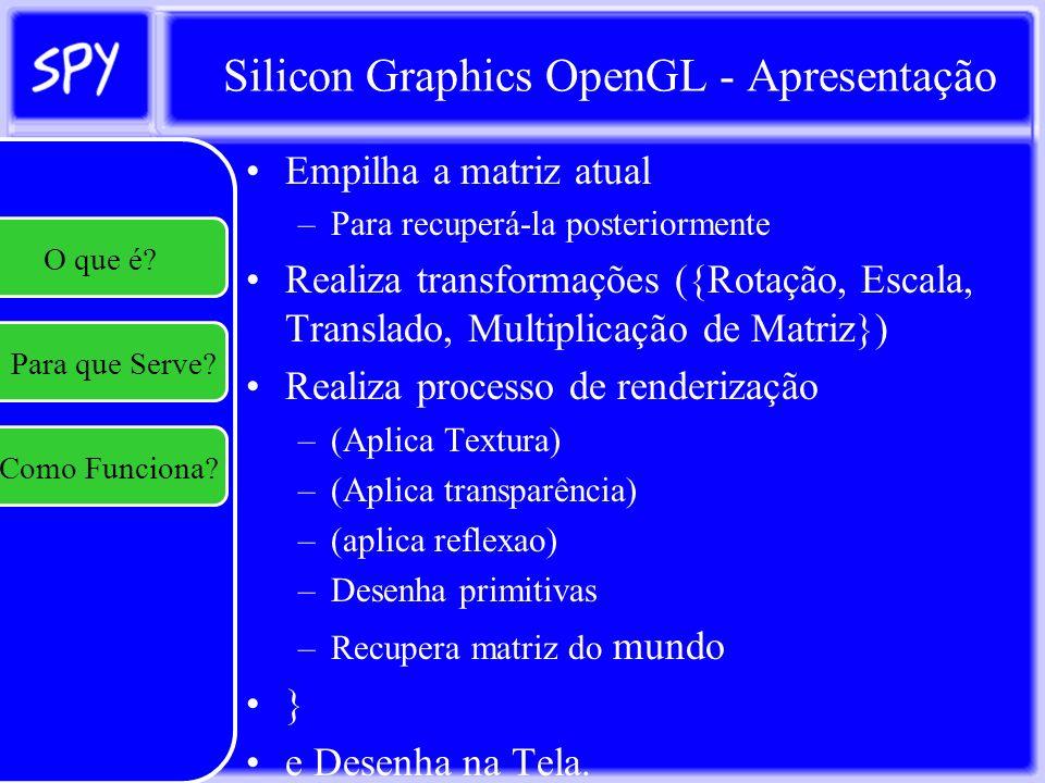 Silicon Graphics OpenGL - Textura Existem 3 funções possíveis para computar a cor final do objeto a ser desenhado: –Usar a cor da textura como cor final; –Modular a cor da textura de acordo com a cor do material do objeto ou –Combinar a cor da textura com a cor do fragmento a ser desenhado; O que é.