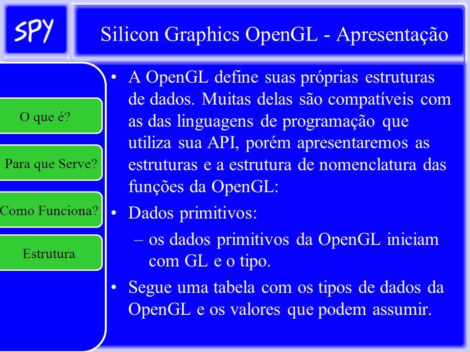 Silicon Graphics OpenGL - Textura Modulação e Transparência: –Especifica como a textura será aplicada à geometria; –É obtida através da função glTexEnv(i,f)[v](Target,pname,param) –Target deve sempre ser GL_TEXTURE_ENV; –Se pname for GL_TEXTURE_ENV_MODE, param pode ser: GL_DECAL: Simplesmente aplica a textura e a cor do pixel será a cor do texel da textura atribuido a ele; GL_MODULATE: Modula a cor da textura de acordo com o material do objeto ou GL_BLEND: Aplica transparência à textura permitindo transparência seletiva na textura.