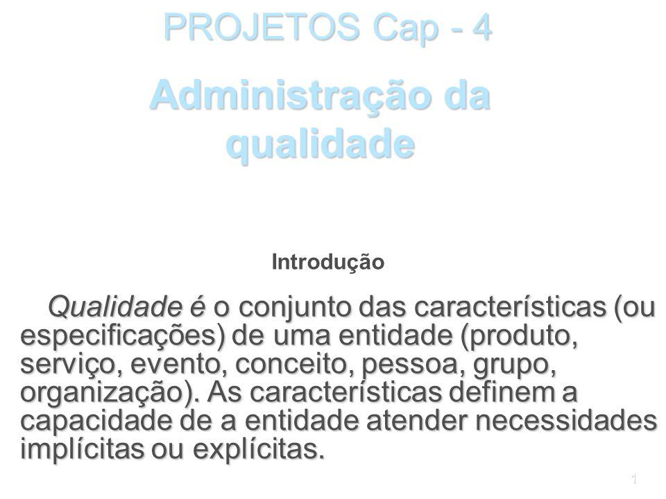 1 PROJETOS Cap - 4 Qualidade é o conjunto das características (ou especificações) de uma entidade (produto, serviço, evento, conceito, pessoa, grupo, organização).