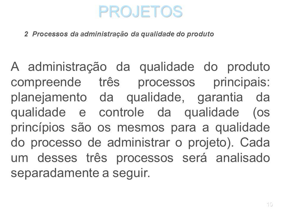 9PROJETOS 1.2 Administração da qualidade do projeto No IPMA Competence Baseline, qualidade é uma das competências técnicas, definida em termos de conf