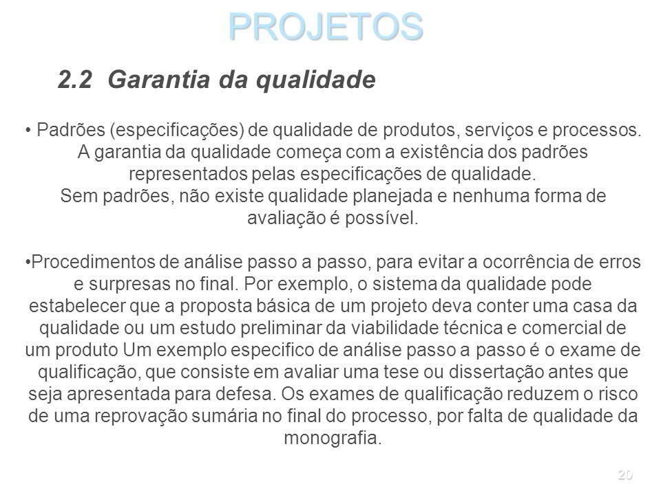 19PROJETOS 2.2 Garantia da qualidade O processo da garantia da qualidade, como diz o nome, procura garantir que as características ou atributos planej