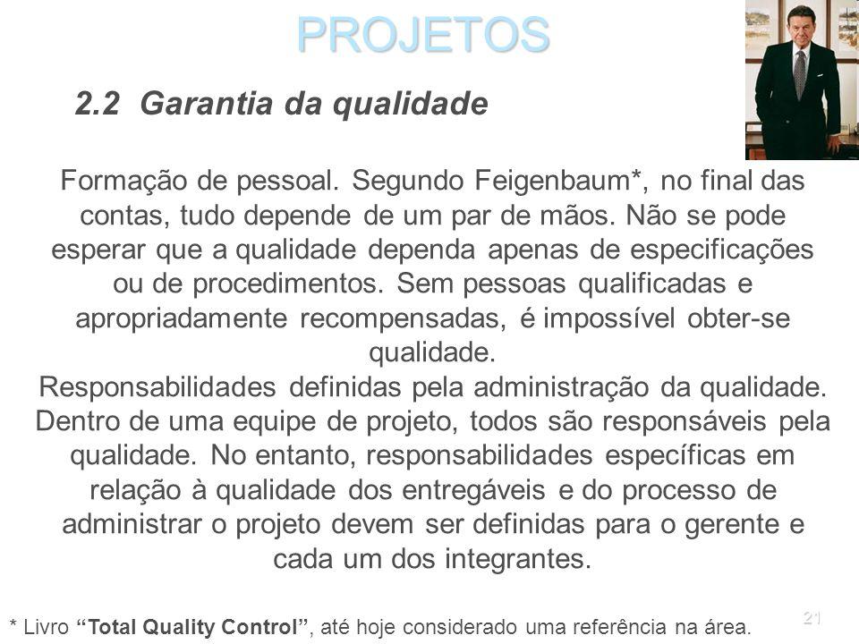 20PROJETOS 2.2 Garantia da qualidade Padrões (especificações) de qualidade de produtos, serviços e processos. A garantia da qualidade começa com a exi